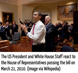 Picture of affordable care act bill passing on March 21, 2010.