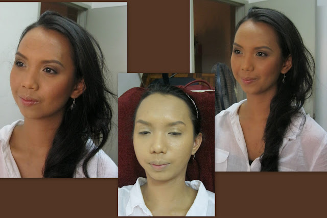 trial makeup sample, natural earth tone look