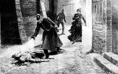 Period cartoon showing police finding one of Jack the Ripper's victims