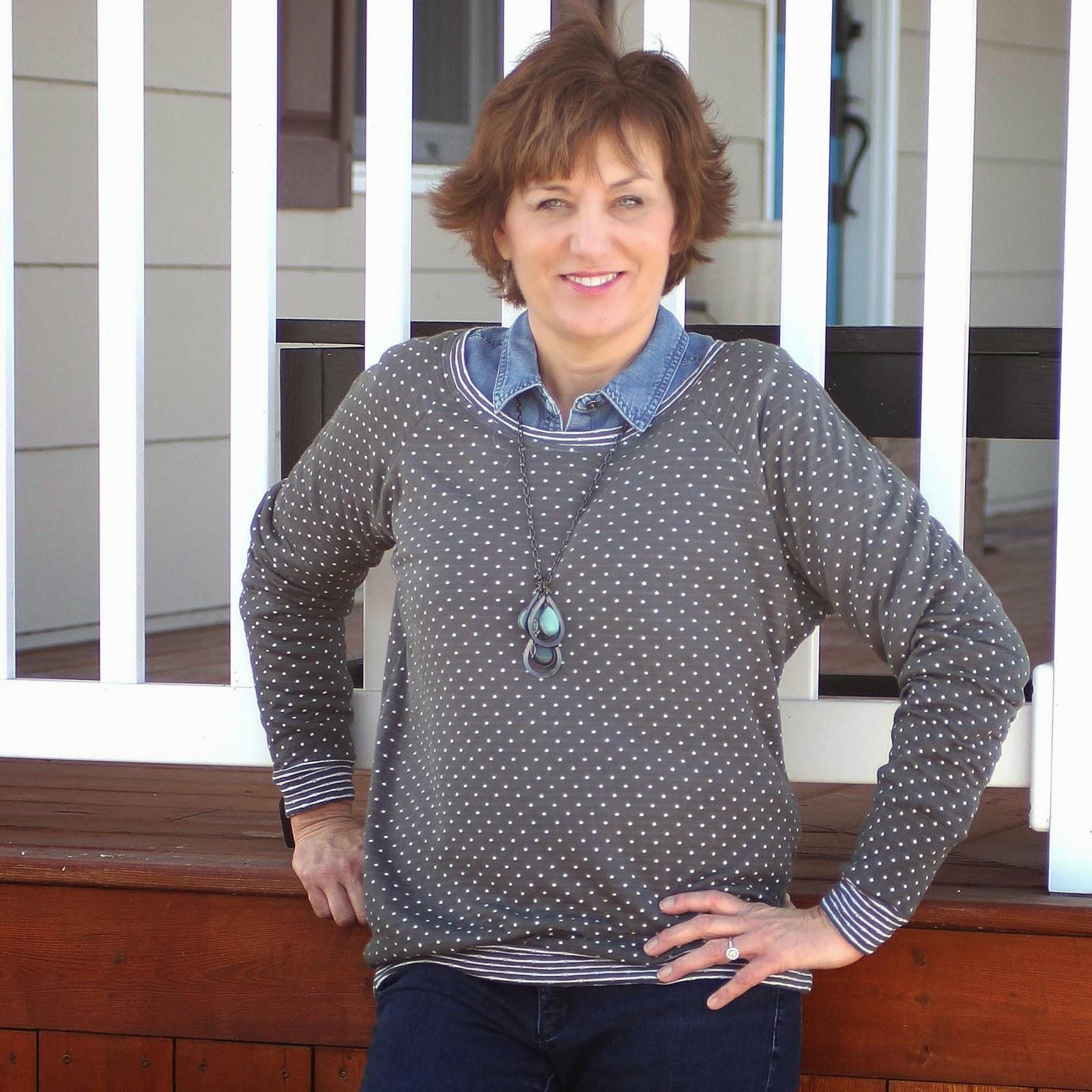 grainline studio Linden sweatshirt in polka dot fabric
