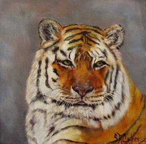 """Purr-fectly Content"", tiger portrait- SOLD!"