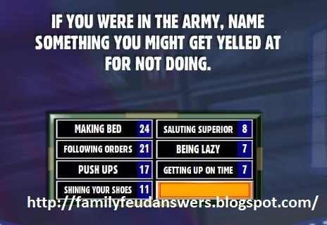 facebook family feud answers if you were in the army. Black Bedroom Furniture Sets. Home Design Ideas