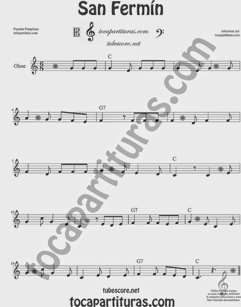 San Fermín Partitura de Oboe Sheet Music for Oboe Music Score