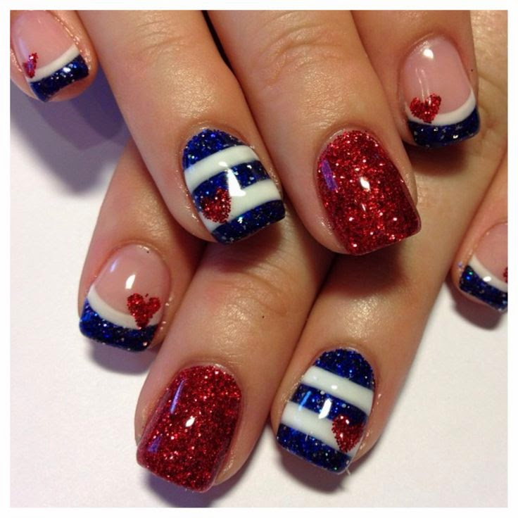 Nail designs fourth of july nail designs i really love this set of nails this design really brings out the americana and uses some gorgeous glitters to make some beautiful art prinsesfo Choice Image