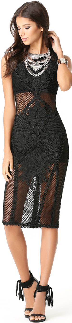 BEBE NET & SOUTACHE MIDI DRESS