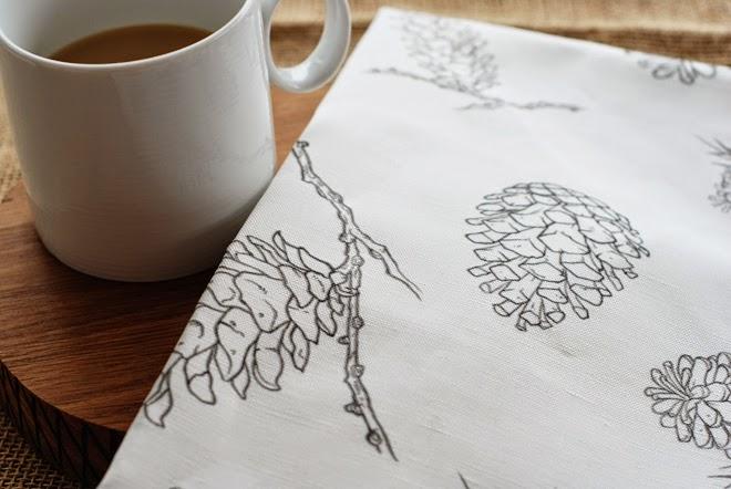 Rambling Renovators | pinecone fabric illustrated spoonflower