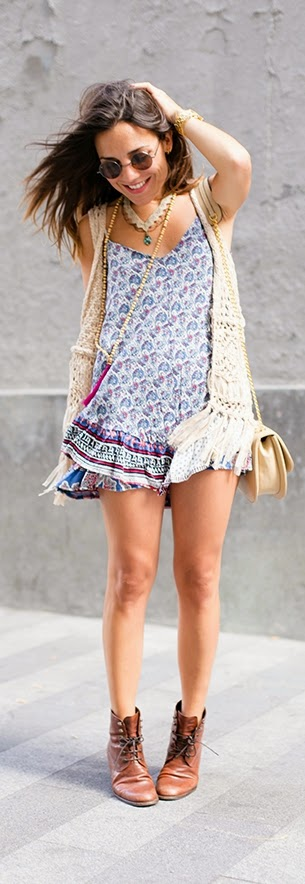 Printedd Mini Boho Dress with Fringed Vest | Chic Summer Outfits