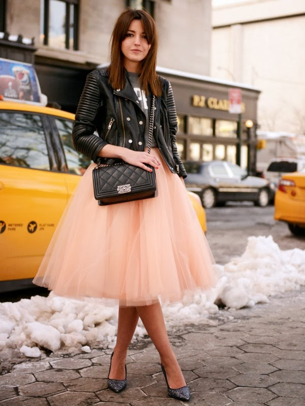 tulle skirt and moto jacket