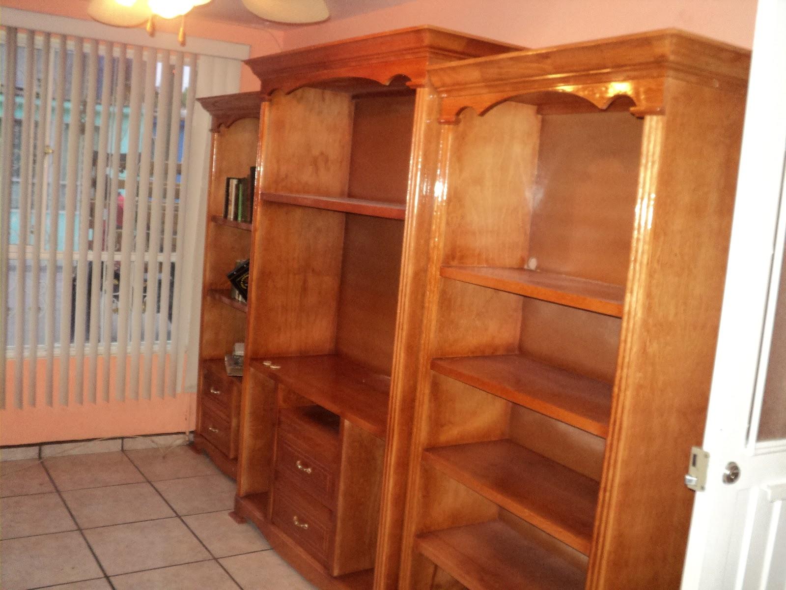 Carpinteria y muebles diaz librero 3 piezas color roble for Muebles diaz