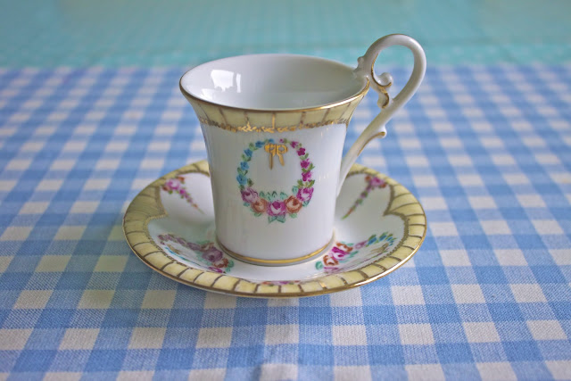 hand painted porcelain, cup and saucer