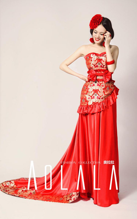 China red means happiness bridals usually wear red wedding dresses