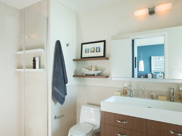 Picture of wooden furniture in the bathroom