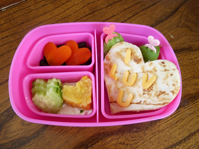 heart quesadilla bento lunch