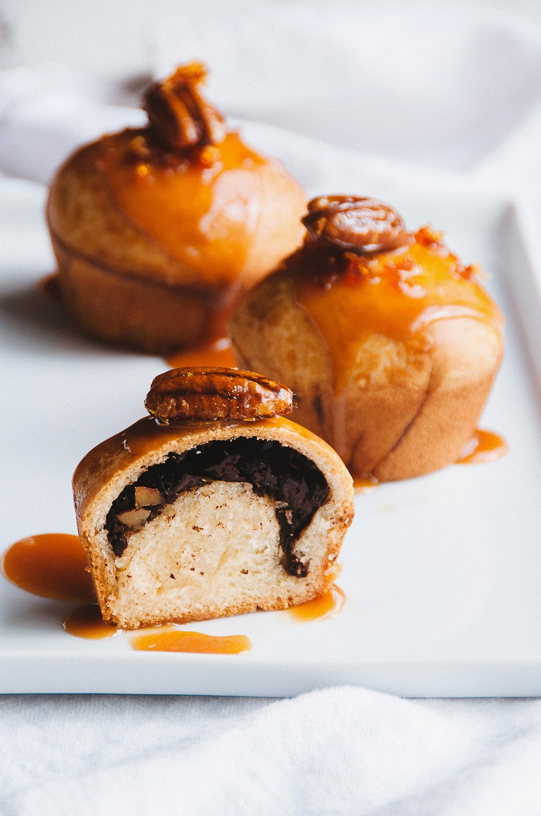 Chocolate Pecan Brioche Buns with Salted Caramel Sauce ...