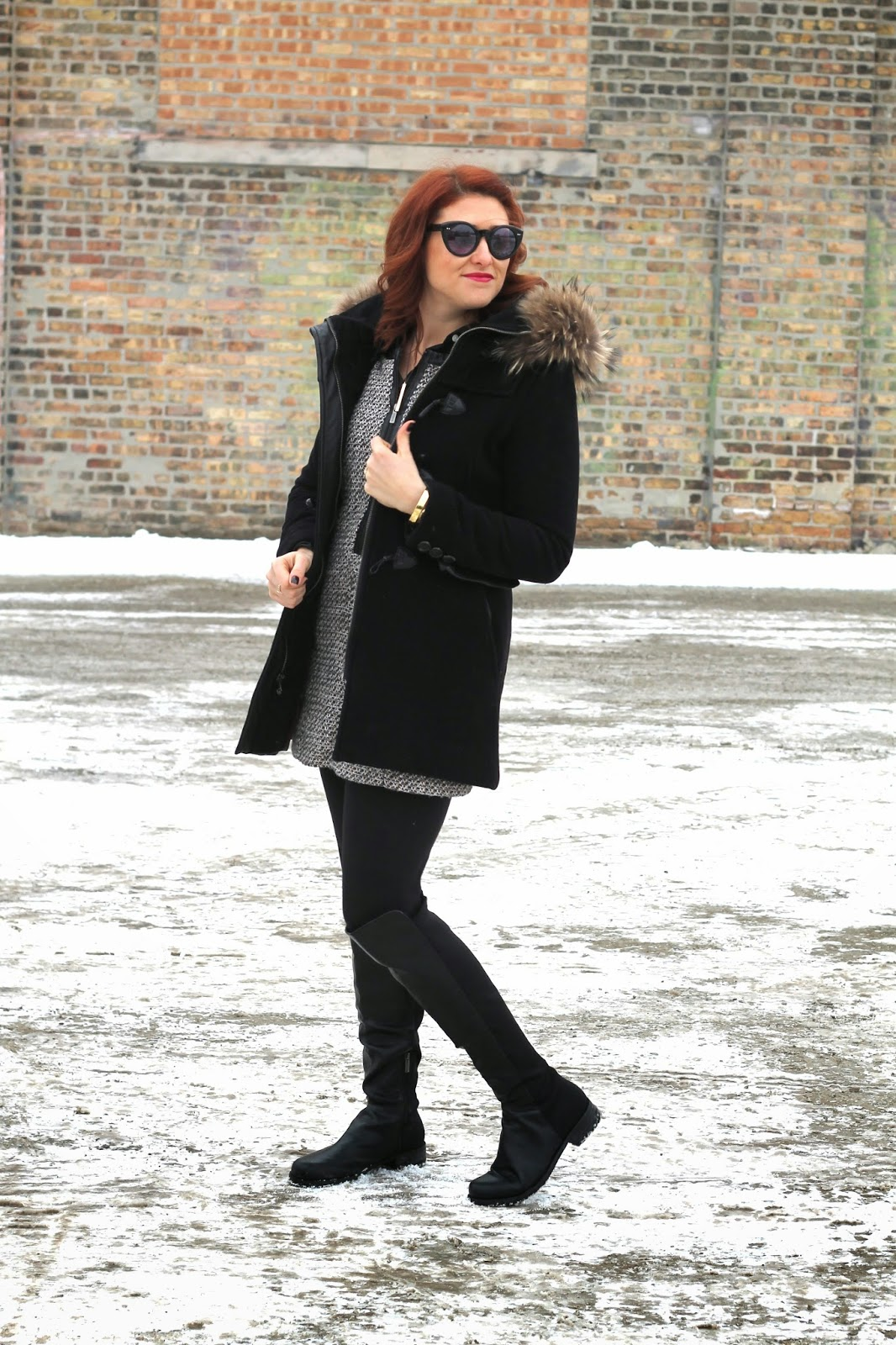 toggle, black, coat