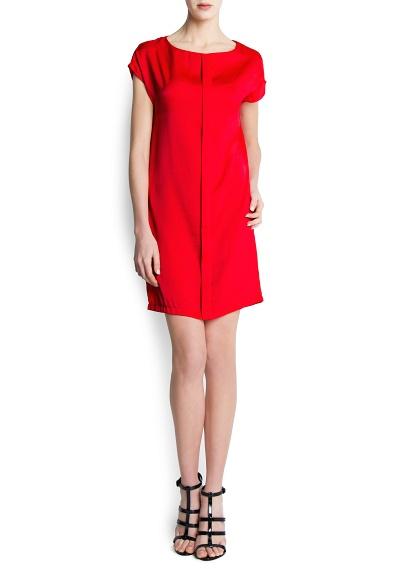 kırmızı düz kesim elbise
