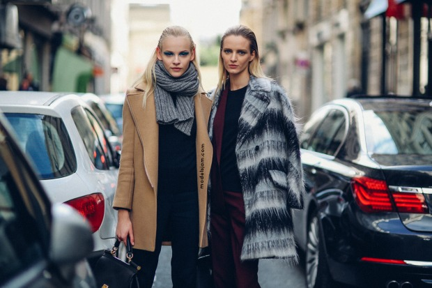 Ginta Lapina and Daria Strokous in Paris