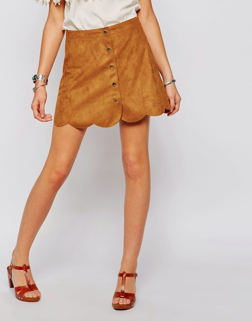 scallop edge suede skirt