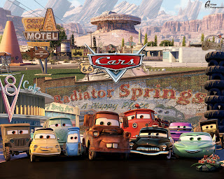 cars lined up in Cars 2 movieloversreviews.blogspot.com