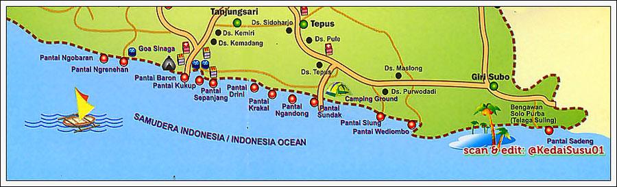 Image result for peta pantai gunung kidul