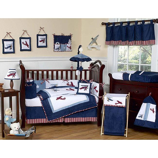 Antique baby cribs modern baby crib sets - Airplane baby bedding sets ...