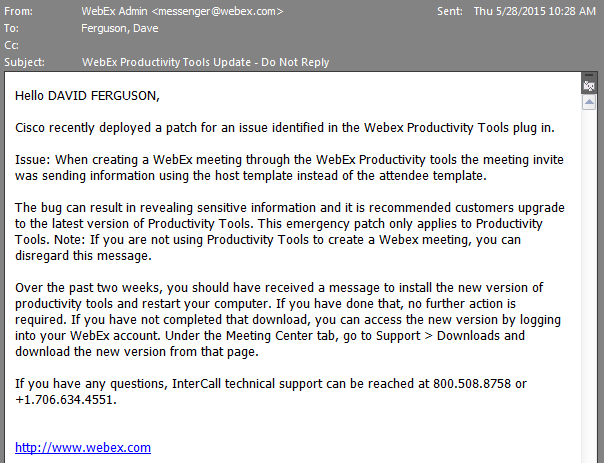 AppSec Notes Bug in WebEx Productivity Tools Exposed Audio