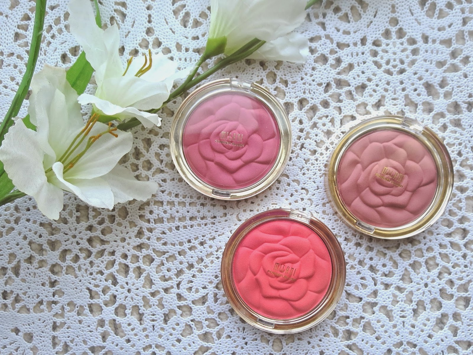 a picture of Milani Rose Powder Blush ; Tea Rose, Romantic Rose, Coral Cove