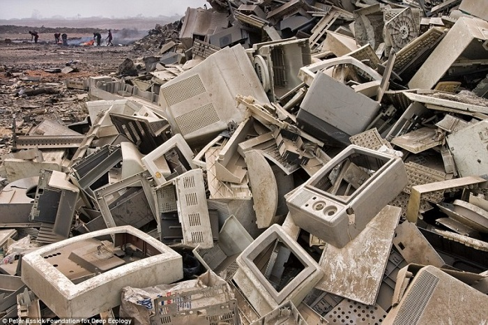 Tons (literally) of broken electronics end up in developing countries and are stripped for precious metals by using deadly substances.