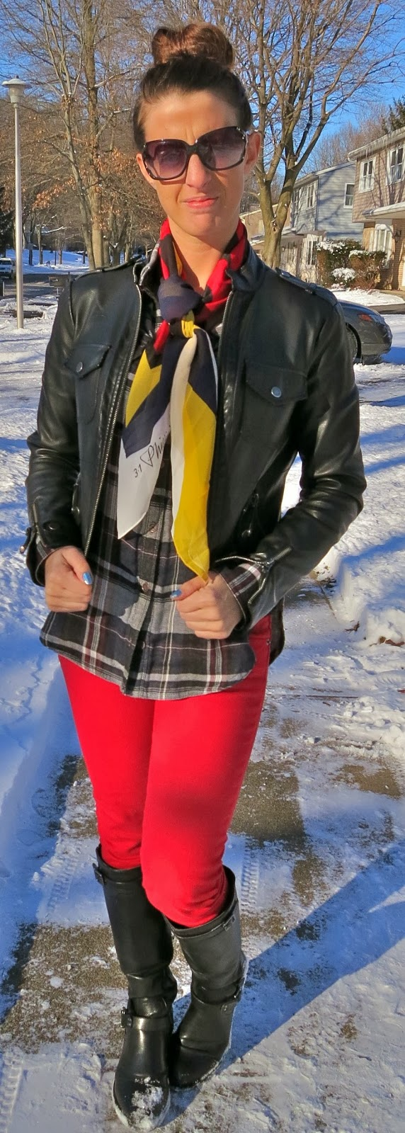 Fashion, flannel, kate spade sunglasses, Outfit Ideas, outfit of the day, Outfits, Phillip lim for target scarf, red jeans, what i wore,