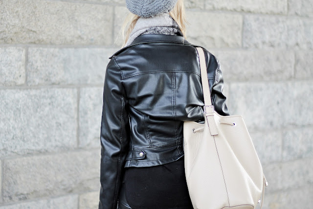 black and nude leather combo