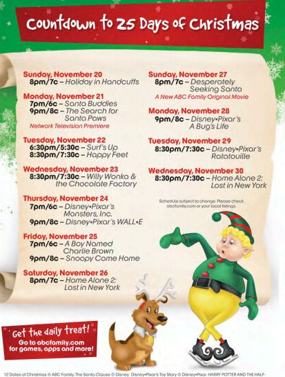 abc familys 25 days of christmas schedule 2011 - 25 Days Of Christmas Abc Family