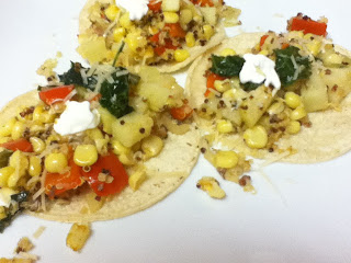 chayote and corn tacos with quinoa and kale