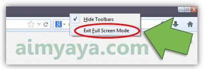 Gambar: Keluar dari mode Full Screen di Mozilla Firefox
