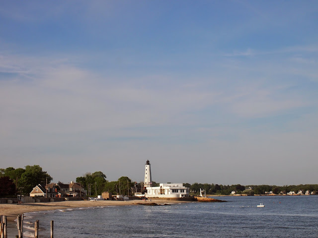 A white lighthouse in New London, Connecticut