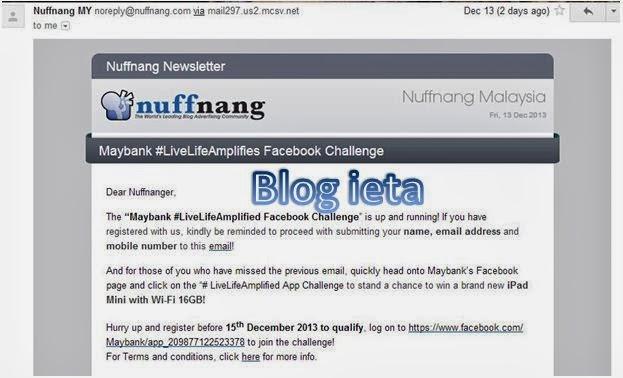 iPad Mini with Wi-Fi 16GB..., PENGALAMAN BLOGGING, NUFFNANG, Peluang Menang iPad, Maybank #LiveLifeAmplified Facebook Challenge, Peluang buat blogger