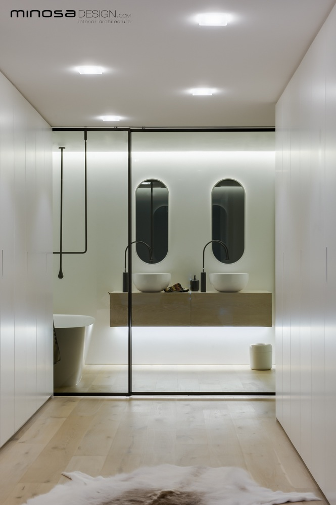 Minosa clean simple lines slick bathroom design by minosa for Simple bathroom layout