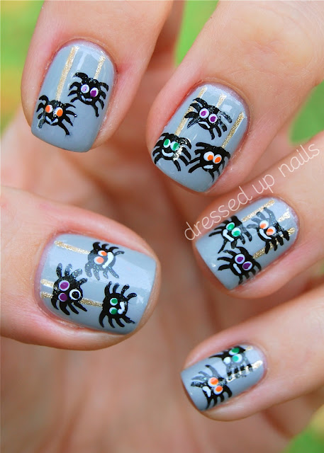 Derpy spider Halloween nail art - China Glaze Pelican Gray