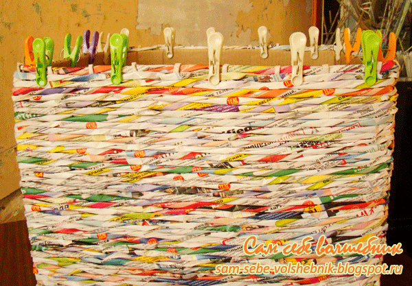 Плетеная корзина для хранения вещей. 14092
