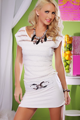 WHITE SHEER STRIPED BELTED BANDED BOTTOM MINI DRESS