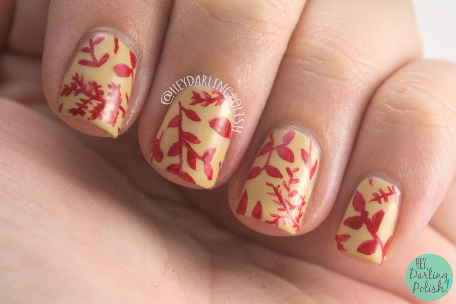 nails, nail art, nail polish, leaves, pattern, 31DC2014, 31 day challenge, hey darling polish, red, nature