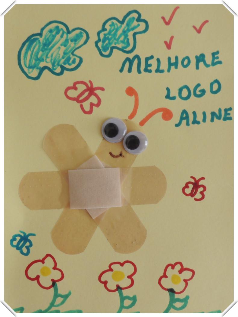 Borboleta de Band-Aid Cartão desejando melhoras para a  criança
