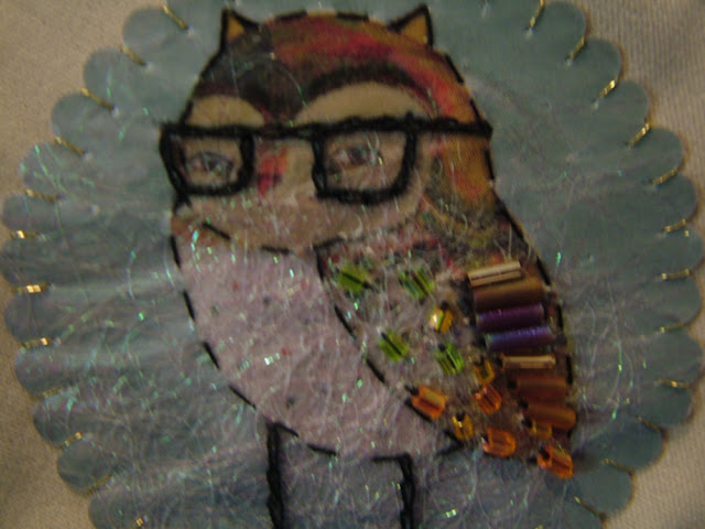 embroidery mix media owl