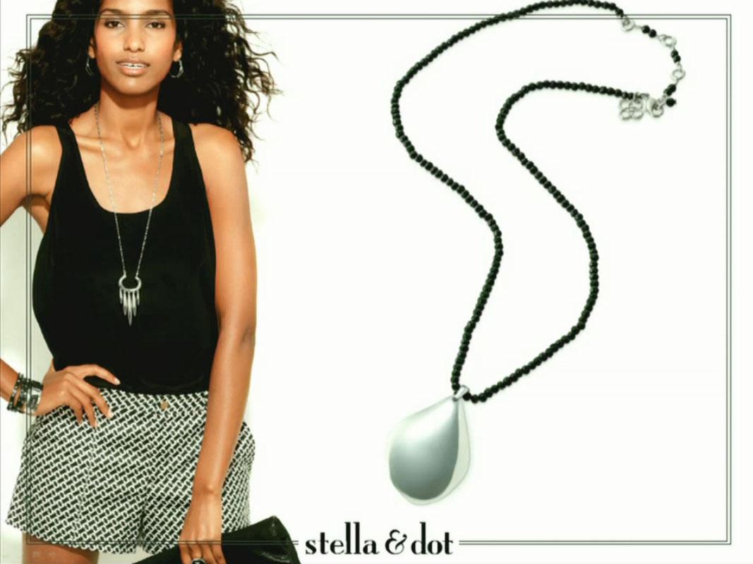 Stella /& Dot Anya White Bronze Pendant Necklace