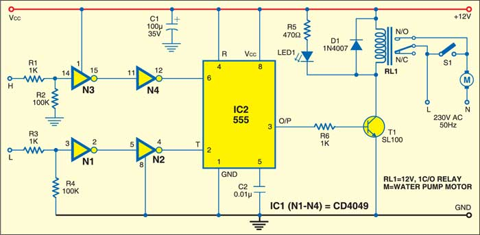 Automatic Water-Level Controller Circuit Diagram