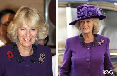 Wearing the brooch with her favourite purple suit