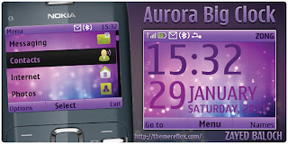 aurora big digital clock c3 by zb Download Tema Nokia C3 Gratis