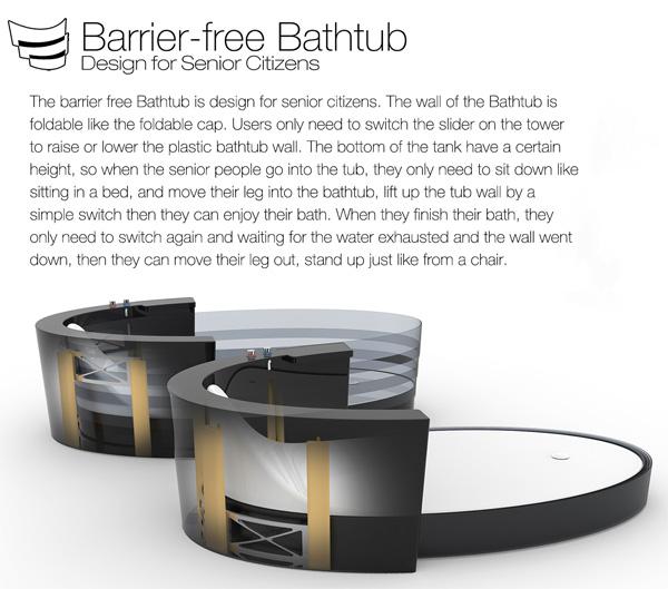 Необычная безбарьерная ванна Barrier-free Bathtub