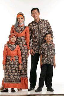 Gamis Batik Sarimbit Keluarga Orange 065 Contoh Model Baju Batik Lebaran Terbaru