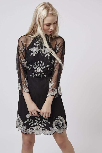 topshop black sheer dress, black mesh embroidered dress. black embellished mesh dress,