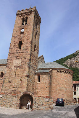 Apse and bell tower of the romanesque church of Coustouges